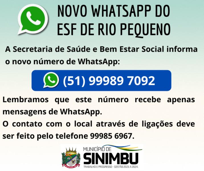 Novo WhatsApp do ESF de Rio Pequeno