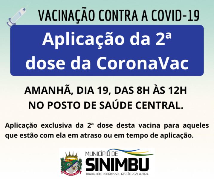 Aplicação da 2ª dose da CoronaVac