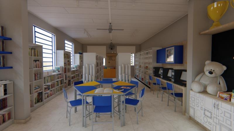 Outra imagem digital de como ficará a biblioteca.